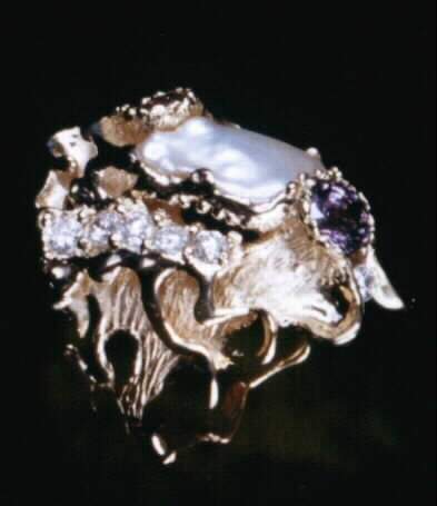 Biwa Japanese Pearl Finger Ring in 18K Yellow Gold With Lavender Sapphire,  Tourmaline, Diamonds