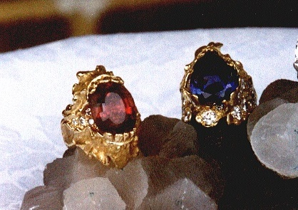 18K Yellow Gold Ladies Finger Rings with diamonds and (left) Rubelite Tourmaline; (right) Tanzanite