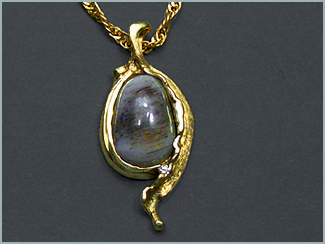 Montana Opalwood Pendant In 18K Green Gold